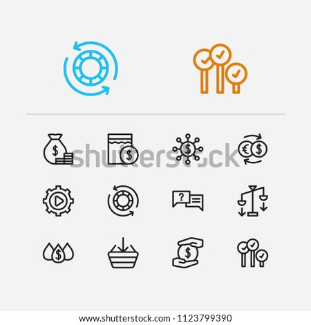 Finance icons set. Yield and finance icons with averaging down, buy and exchange. Set of salary for web app logo UI design.
