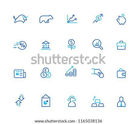 Finance icons, simple line se