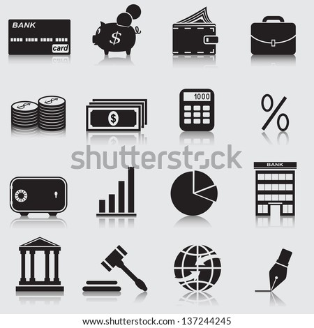Finance  icons: the bank, dollars, credit card