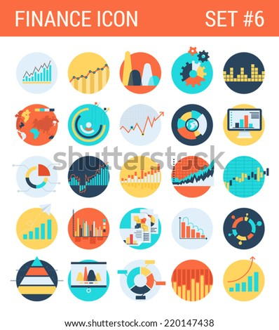 Finance infographics flat icons set diagram statistics graphics chart pie report market analysis bar graph stats web click infographic style vector illustration concept collection