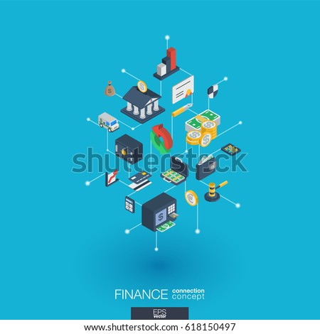 Finance integrated 3d web icons. Digital network isometric interact concept. Connected graphic design dot and line system. Abstract background for money bank, market transaction. Vector Infograph