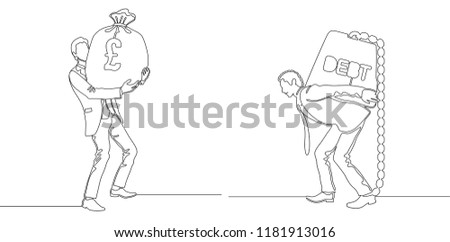 Finance investment concept. Business man with money earnings and carrying debt weight. Continuous line drawing. One line drawing. Vector illustration.