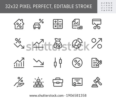 Finance investment simple line icons. Vector illustration with minimal icon - briefcase, portfolio, certificate, gold bar, mortgage, quotes, car loan pictogram. 32x32 Pixel Perfect Editable Stroke.