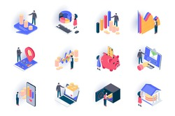 Finance isometric icons set. Stock trading, capital investment flat vector illustration. Financial transaction, bank account, money income and payment 3d isometry pictograms with people characters.
