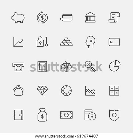 finance lin icons vector illustration flat design