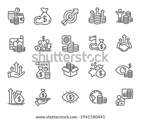 Finance line icons. Accounting coins, Budget Investment, Trade Strategy icons. Finance management, Budget gain and Business asset. Money economy, Loan in dollars and Treasure map. Vector Stock photo ©