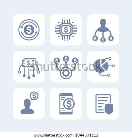 finance management icons set on white