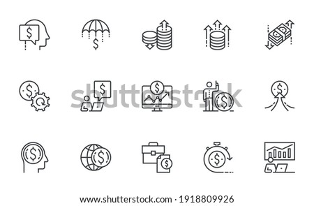 Finance Management, Investment Growth, Wealth Management, Trade Strategy. Set of Vector Line Icons. Editable Stroke. 64x64 Pixel Perfect.