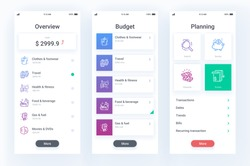 Finance mobile app with line icons
