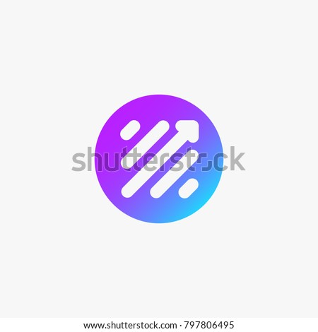 Finance Modern Logo. Stock market trade Icon. Scale Arrow Symbol in colorful circle.