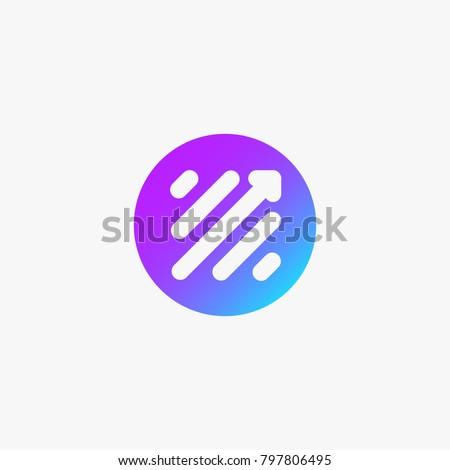 Finance Modern Logo. Stock market trade Icon. Scale Arrow Symbol in colorful circle.