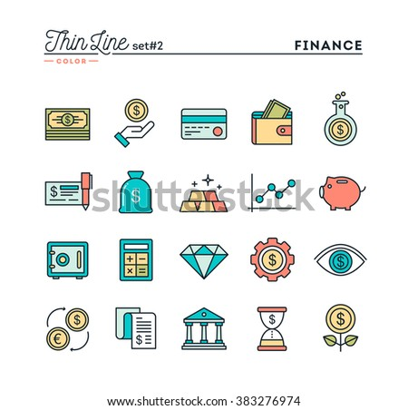 Finance, money, banking, business and more, thin line color icons set, vector illustration