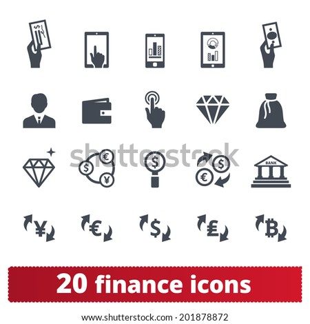 Finance, money, banking icons: vector set of business signs