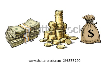Finance, money set. Paper money, stack of coins, sack of dollars. Hand drawn collection isolated on white background. Vector illustration.