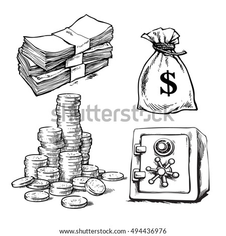 Finance, money set. Sketch of paper money, stack of coins, sack of dollars, bank safe.Black and white hand drawn collection isolated on white background. Vector illustration.
