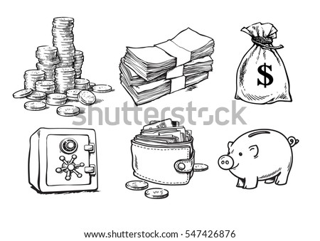 Finance, money set. Stack of coins, sack of dollars, paper money, bank safe, wallet, piggy bank/ Sketch hand drawn collection isolated on white background. Black and white vector illustration.