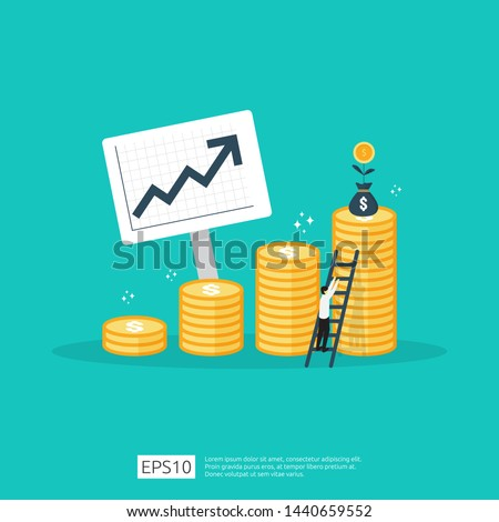 Finance performance of return on investment ROI concept with arrow. income salary rate increase. business profit growth margin revenue. cost sale icon. dollar symbol flat style vector illustration Foto d'archivio ©