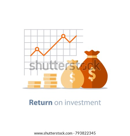 Finance productivity graph, return on investment chart, budget planning, expenses concept, accounting report, income growth, statistic dashboard, vector flat icon