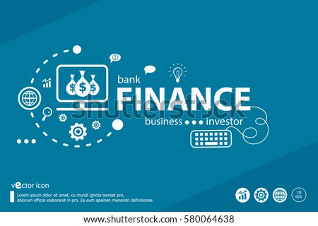 Finance related words and marketing concept. Infographic business. Project for web banner and creative process.