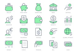 Finance savings simple line icons. Vector illustration with minimal icon - piggy bank, banknote bundle, wallet, investor person, cash, insurance, globe pictogram. Green Color, Editable Stroke.