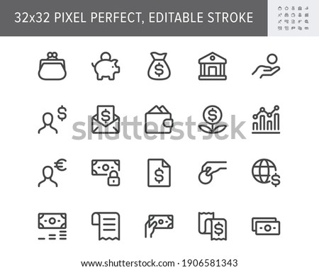 Finance savings simple line icons. Vector illustration with minimal icon - piggy bank, banknote bundle, wallet, investor person, cash, insurance, globe pictogram. 32x32 Pixel Perfect Editable Stroke.