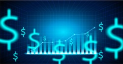 Finance Stock market. Candle stick graph chart of stock market investment trading .dollar signs on blue background. Vector illustration