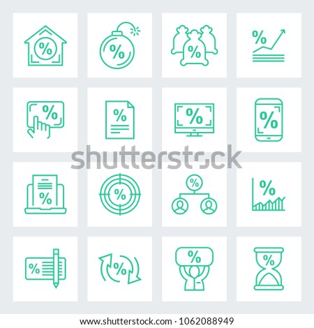 Finance taxes and mortgage icon in trendy line style isolated on background.  Symbol for your web site design, logo, app, UI. Vector illustration, EPS #1062088949