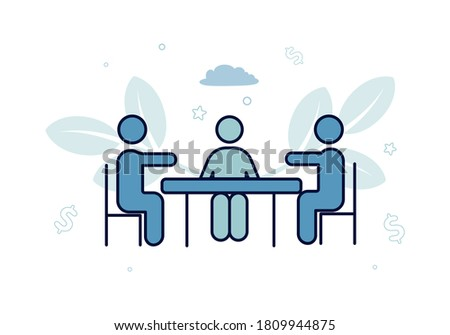 Finance. Vector illustration of factoring. Three silhouettes of people are sitting at the table, against a background of leaves, dollar signs, clouds, stars Foto stock ©