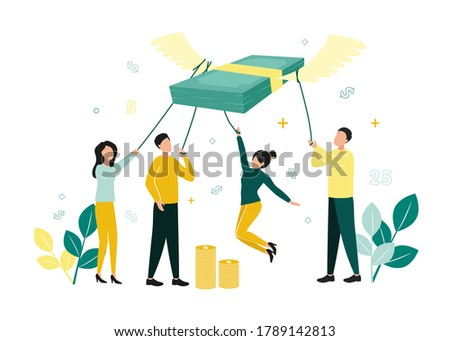 Finance. Vector illustration of inflation. Men and women hold a stack of notes with ropes, which fly up on their wings, next to stacks of coins, branches with leaves, dollar signs, numbers Foto stock ©