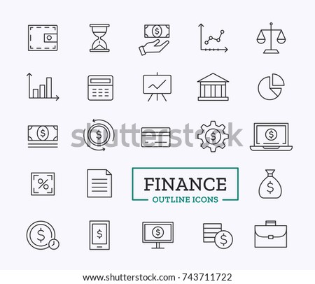 Finance vector thin line icons for business. Simple contour items.