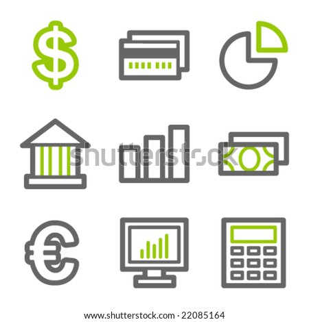 Finance web icons, green and gray contour series
