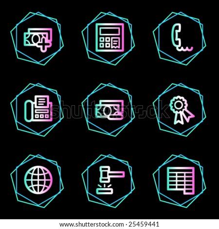 Finance web icons, neon contour series set 2