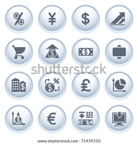Finance web icons on buttons.