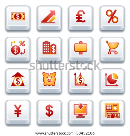 Finance web icons. Red and yellow series.