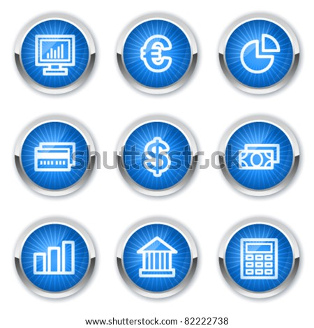 Finance web icons set 1, blue buttons