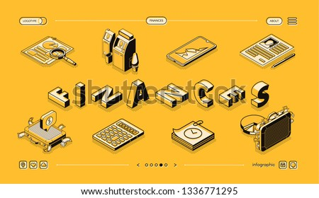 Finances analysis, company accounting and consulting isometric vector web banner. Business infographics elements set line art illustration. Auditing, investment risk assessment service landing page