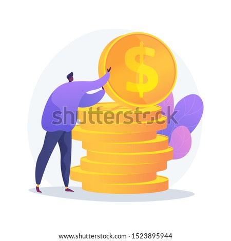 Finances management. Budget assessment, financial literacy, accounting idea. Financier with cash, economist holding golden coin cartoon character. Vector isolated concept metaphor illustration