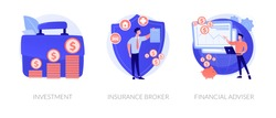 Finances management, economic protection service, professional consulting icons set. Investment, insurance broker, financial adviser metaphors. Vector isolated concept metaphor illustrations