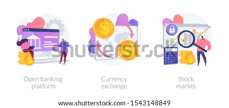 Finances management service, online money transaction, stocks trading icons set. Open banking platform, currency exchange, stock market metaphors. Vector isolated concept metaphor illustrations