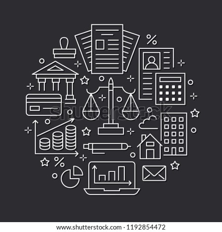 Financial accounting circle poster flat line icons. Bookkeeping brochure concept, tax optimization, firm accountant, payroll, real estate crediting. Accountancy, finance vector signs legal services.