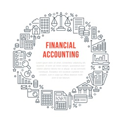 Financial accounting circle poster with flat line icons. Bookkeeping brochure concept, tax optimization, loan, payroll, real estate crediting. Accountancy, finance thin linear signs for legal services