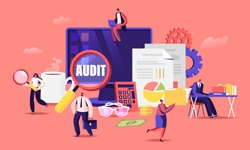 Financial Administration and Audit Concept. Consulting for Company Performance, Analysis, Statistics and Business Statement. Accounting, Report, Auditing Tax Process. Cartoon Flat Vector Illustration