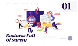 Financial Administration and Audit Website Landing Page. Analysis, Statistics and Business Statement. Accounting Report Auditing Tax Process Paperwork Web Page Banner. Cartoon Flat Vector Illustration