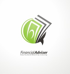Financial adviser logo design layout. Business and finance creative icon concept. Money symbol template. Bubble speech with cash in negative space.