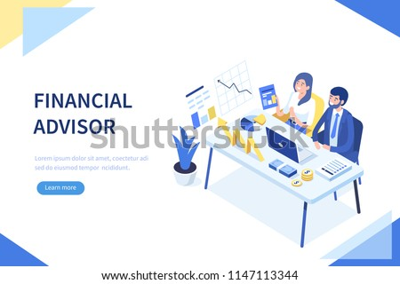 Financial advisor concept banner with characters. Can use for web banner, infographics, hero images. Flat isometric vector illustration isolated on white background.
