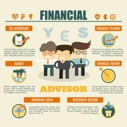financial advisor infographics tax accountant, banker, investment advisor, money coach, insurance agent, financial planner
