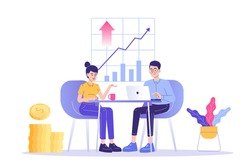 Financial advisor service concept. Giving financial consultation to customers. Business analysis. Professional help. Isolated modern vector illustration
