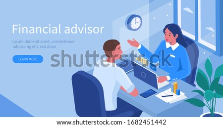 Financial Advisor Sitting at Office Desk and Talking with Client. Man Meeting Lawyer for Advice. Woman Business Consultant Analyzing Financial Report. Flat Isometric Vector Illustration.