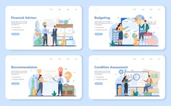 Financial advisor web banner or landing page set. Business character consulting of financial operation. Marketing recommendation, budgeting, condition assessment. Isolated flat vector illustration