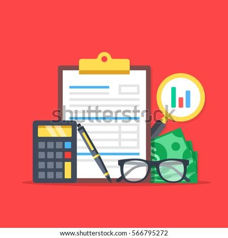 Financial analysis, accounting, business audit. Flat design graphic elements, flat icons set. Premium quality. Modern concepts for web banners, websites, printed materials. Vector illustration.